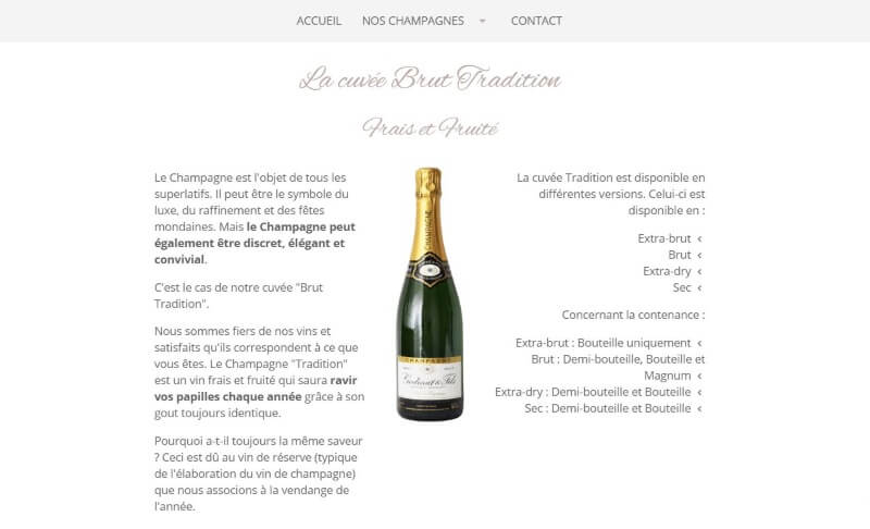 page d'accueil champagnegodinat.fr